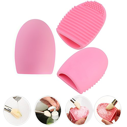 Makeup-Brush-Oval-Cosmetic-Cream-Powder-Blush-Makeup-Tool-Glove-MakeUp-Washing-Cleaning-Brush-Scrubber-Board-and-Light-Green-Mini-Size-Makeup-Sponge-Puff-A-MONEY-SAVING-SET-By-SySrion-0-1